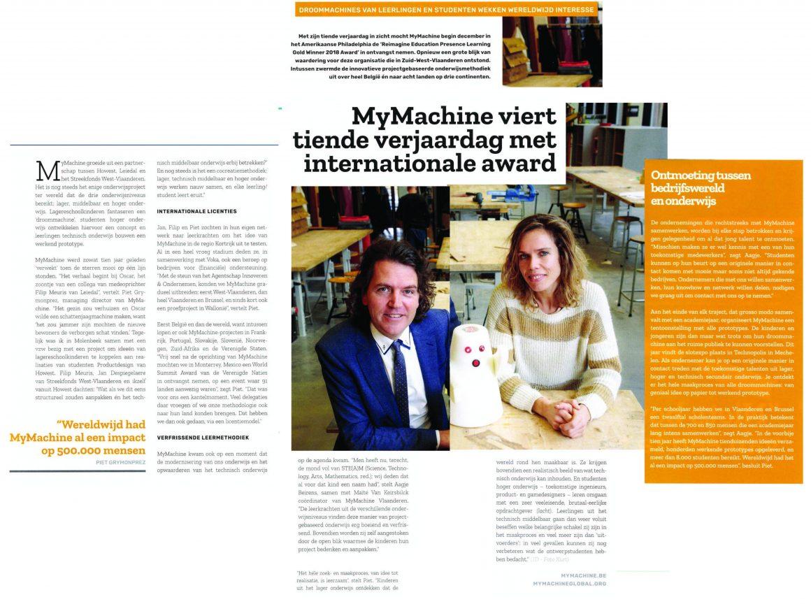 MyMachine in VOKA Magazine Ondernemers